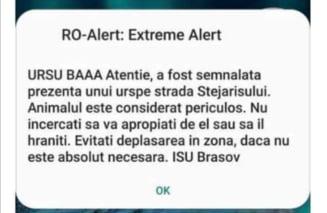 """""""URSU BAAA"""". Mesajul halucinant introdus la Brașov într-un mesaj oficial transmis prin sistemul Ro-Alert"""