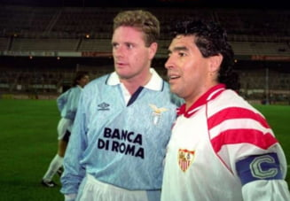 """""""Diego, eu sunt beat. E in regula, Gazza. Si eu sunt beat"""". Cum au jucat Gascoigne si Maradona intr-un meci direct"""