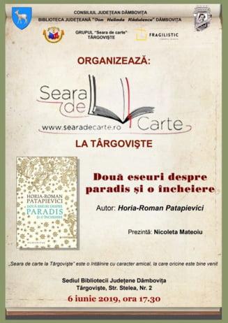"""Doua eseuri despre paradis si o incheiere"" se discuta la Seara de carte"