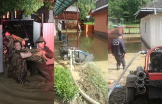 [FOTO] Pagube importante produse de ploile de luni: zeci de gospodarii inundate, zone fara curent, drumuri blocate de aluviuni