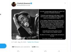 """""""Un omagiu potrivit pentru un rege"""". Anuntul decesului actorului Chadwick Boseman este cea mai apreciata postare din istoria Twitter"""