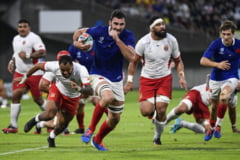 Campionatul Mondial de rugby: Rezultatele meciurilor de duminica. Noua Zeelanda zburda in Japonia, Franta, aproape sa se faca de ras cu Tonga