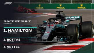 Formula 1: Hamilton castiga cu scandal Marele Premiu al Rusiei, dupa ce colegul sau a ascultat ordinele de echipa