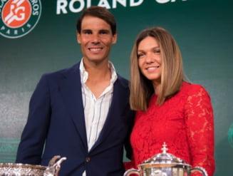 """Fotografia zilei Simona Halep, alaturi de legendarul Nadal la Roland Garros: """"Trebuie sa castigi trofeul pentru o poza cu regele zgurii"""""""