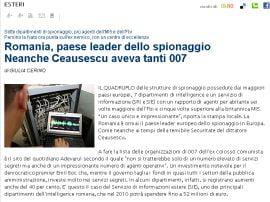 La Repubblica: Romania detine suprematia serviciilor secrete europene