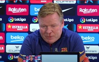 VIDEO Clipe de panica la Barcelona. Antrenorul Koeman a sangerat in timpul conferintei. Nu e prima data cand i se intampla