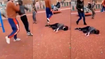 VIDEO Copilul trantit la pamant intr-un parc din Hunedoara are fractura la cap. Agresorul a fost arestat