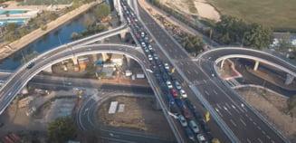 VIDEO Imagini incredibile de pe Podul Ciurel. Cum se vede coada de masini in filmarea cu drona