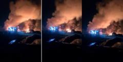 VIDEO UPDATE Incendiu violent la o fabrica de produse din titei din Prahova. Doua persoane au suferit arsuri grave