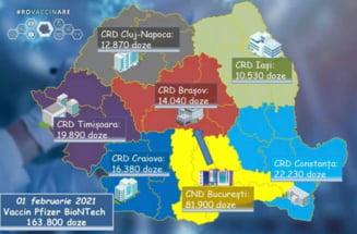 A saptea transa de vaccin Pfizer BioNTech soseste in Romania. Cum sunt repartizate pe regiuni cele 163.800 de doze