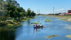 ABA Siret creste nivelul apei in lacul de la Insula de Agrement si curata buruienile de la suprafata