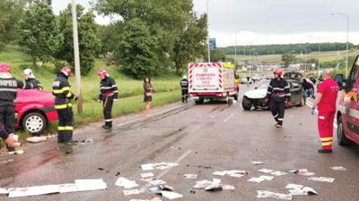 Accident cu 7 victime la iesirea din Botosani. Cinci masini au fost implicate VIDEO