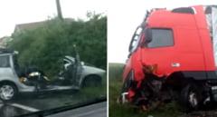 Accident grav pe DN1. Doi soti din Ungaria s-au izbit cu masina de un TIR, la intoarcerea din pelerinalul de pe muntele Sumuleul Mic-VIDEO