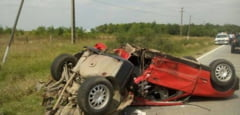 Accident infiorator pe soseaua mortii din Timis. BMW-ul s-a rupt in doua! Ce s-a intamplat?