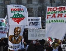 Activistii Rosia Montana s-au legat cu lanturi in fata CNA
