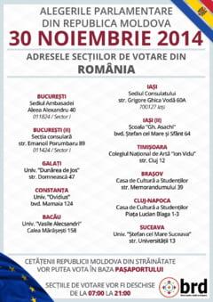 Alegeri parlamentare in R. Moldova: Unde pot vota moldovenii in Romania