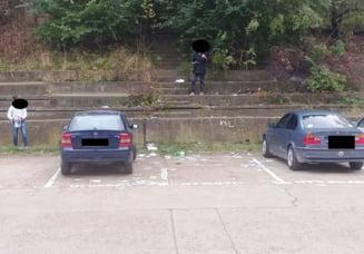 Amendati pentru ca au facut mizerie intr-o parcare