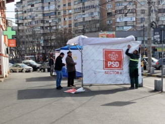 Angajatii Primariei Sector 4 monteaza corturi electorale ale PSD (Dovada foto)