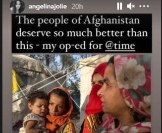 Angelina Jolie și-a făcut cont pe Instagram pentru a susține cauza femeilor din Afganistan. Actrița a publicat scrisoarea unei adolescente
