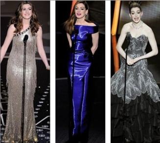 Anne Hathaway, gazda Oscarurilor, a schimbat 8 tinute intr-o seara (Galerie Foto)
