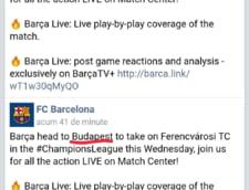 Anuntul facut de FC Barcelona pe Facebook