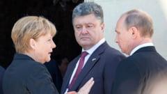 Aristitiul in Ucraina, aproape de sfarsit: Porosenko, Merkel si Hollande, in teleconferinta cu Putin