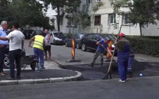 Asfalt nou si parcari reamenajate, pe o strada paralela cu Bulevardul Unirii
