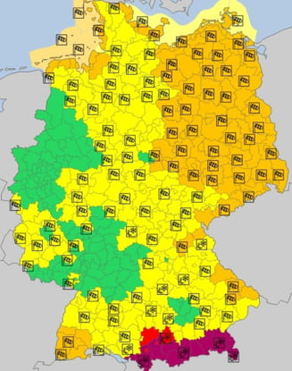Atentionare meteo la cel mai ridicat nivel: Cod violet de vreme rea in Germania (Foto)
