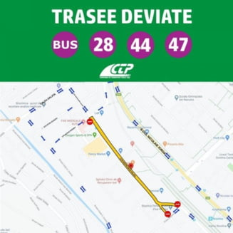 Autobuzele de pe rutele 28, 44 si 47 circula pe la Gara Internationala azi