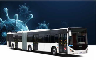 Autobuzul anti-COVID dezvoltat de un producator turc prezent in Romania: se dezinfecteaza singur, masoara temperatura si protejeaza soferii