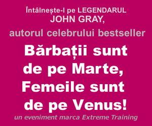 """Autorul bestseller-ului """"Barbatii sunt de pe Marte, Femeile sunt de pe Venus"""" vine pentru prima data in Romania"""