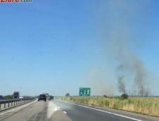 Autostrada Bucuresti-Pitesti, inchisa din cauza unui incendiu UPDATE