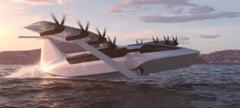 Avion desprins din filmele SF, in curand: Vehicul electric pentru pasageri, care zboara, dar pluteste si pe apa VIDEO