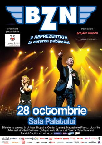 BZN va sustine doua concerte la Bucuresti, in aceeasi zi (Video)