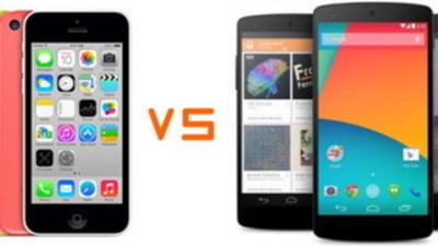 Batalia celor mai tari smartphone-uri: iPhone 5C si Nexus 5 (Video)