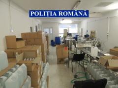 Biocide cu alcool etilic fabricate ilegal de o firma de cosmetice din Botosani. Substantele erau exportate in tari din Europa