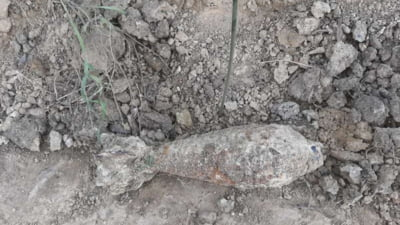 """Bombă în perfectă stare de funcționare, descoperită pe un șantier din Botoșani. """"Putea exploda la orice atingere"""""""