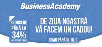 BusinessAcademy isi sarbatoreste ziua de nastere si va ofera cadou 34% REDUCERE + un pachet BONUS pentru o scolarizare de top