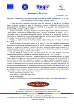 CRESTEREA COMPETITIVITAEsII ECONOMICE PRIN EXTINDERE SI DOTARE VILA TURISTICA LA SC ANA SOFT SRL DIN LOCALITATEA GALAEsI, JUDEEsUL GALAEsI - 11.11.2019