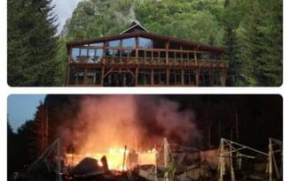 Cabana Cheile Butii care apartine unui cunoscut om de afaceri gorjean, distrusa de un incendiu devastator
