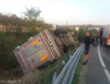 Camion plin cu porci, rasturnat la intrarea pe autostrada A1. Pompierii au intervenit pentru salvarea animalelor