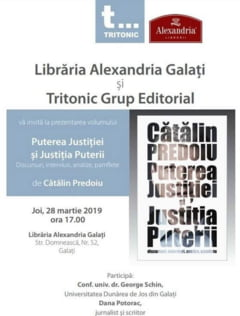 "Catalin Predoiu isi lanseaza, la Galati, cartea ""Puterea Justitiei si Justitia Puterii"" Recomandat"