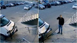 Ce se intampla cand uiti sa tragi frana de mana. Cum si-a distrus masina un sofer dupa o eroare de incepator VIDEO
