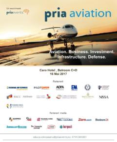 Cele mai importante teme despre aviatie vor fi dezbatute la PRIA Aviation Conference in data de 16 mai la Bucuresti