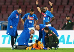 Clipe de groaza pentru portarul lui Napoli, care a suferit o comotie cerebrala in meciul cu Udinese (Video)