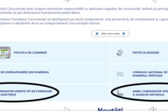 Comparatoarele de tarife pentru gaze si electricitate sunt disponibile si la Consiliul Concurentei