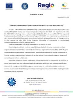 Comunicat de presa: Imbunatatirea competitivitatii si cresterea productiei la SC NOVA GRUP SRL