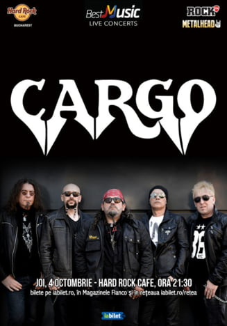 Concert Cargo, pe 4 octombrie, la Hard Rock Cafe