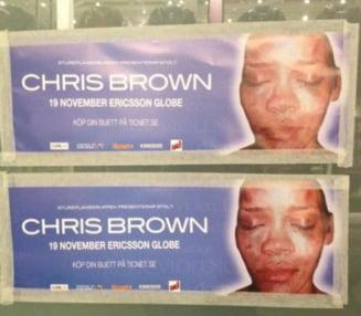 Concertul lui Chris Brown in Suedia, boicotat cu afise cu Rihanna batuta