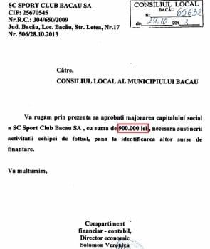 Consiliul Local da 900.000 lei societatii pe care functioneaza echipa de fotbal Sport Club Bacau